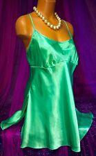 Green Satin Plunge Slit Gloss Nightie Chemise BabyDoll Gown XL