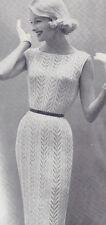 Vintage Knitting PATTERN Designer Sheath Dress Knit Lace Panel Stripped Design