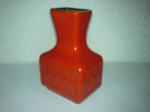 Vase unknown 14 12 Mid Century 60s 70s ? H: 12 cm Rot Red Glaze ***