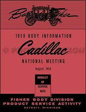 1959 Cadillac Body Training Manual 59 Eldorado Deville Series 62 60 Fleetwood 75