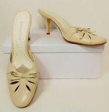 Enzo Angiolini Off White Bone Beige Leather Mules Heels Pumps Shoes 7.5 M (S154)