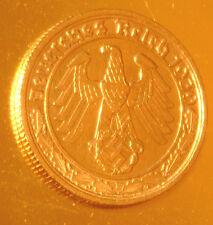 WW11 níquel 50 Reichspfennig 1939 F nazi moneda de la esvástica Pfennig PF oro en capas