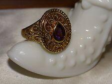 Ornate Designer Sterling Silver 925 Vermeil Etruscan Style Amethyst Ring Sz 10
