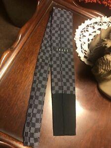 VTG Rare ONANO Japanese Silk 50's Square Tip Necktie Black/Gray Checkered Short