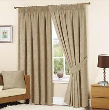 Turin Woven Jacquard Lined Tape Top Curtains Mink Self Coloured Pencil Pleat