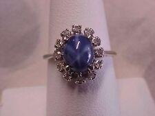 *VINTAGE*AWESOME*BLUE STAR SAPPHIRE & DIAMOND HALO RING 14K WHITE GOLD sz7.75