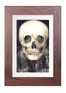 NEW SIZE gothic skull Framed print bySalvador Dalí *LARGER SIZE *
