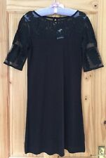 BNWT Next Black Dress / Long Top With Shoulder & Arm Mesh Detail Size 10