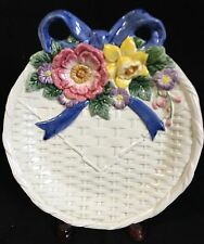Fitz & Floyd Bustles & Beaus Easter Plate Basket Weave Blue Ribbon Spring Flower