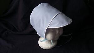 Boy White Blue Cotton Christening/Baptism /Wedding Cap Bonnet /Sun Hat  0-24M