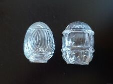 Pair of 2 Vintage Clear Glass Bird Cage Feeder Water Dish Made in Usa