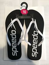 Speedo Women's Solid Jelly Flip Flop - Black and White - Size 10
