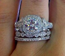 Engagement Wedding Ring Set 925 Silver 3.20 Ct White Cushion-Cut Diamond 3Pcs