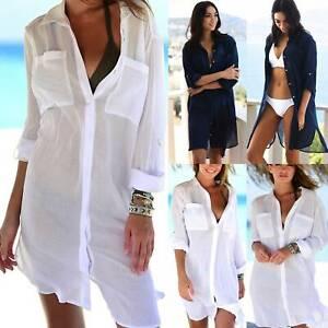 Women Beachwear Bikini Cover Up Sheer Shirt Dress Long Sleeve Blouse Beach Wear