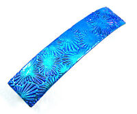 """Dichroic Hair Barrette Glass 3.5"""" 90mm Silver Blue Teal Floral Shell Patterned"""