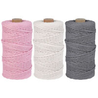 100M 200M Natural Cotton Macrame String 3mm 4mm Twisted Cord Rope Artisan Crafts