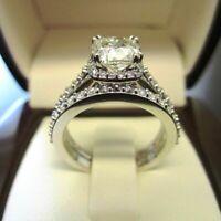 3.00 Ct Off White Cushion Diamond Bridal Engagement Ring Set 14K White Gold Over