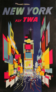 Vintage David Klein TWA Poster New York City Mid Century Modern Times Square