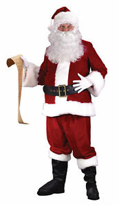 Santa Claus Suit Ultra Velvet Adult Red Satin Lined Costume Red Christmas
