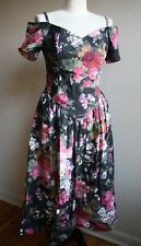 New listing Vtg 80s Eber San Francisco 9 Dark Floral Off Shoulder Dress Full Skirt