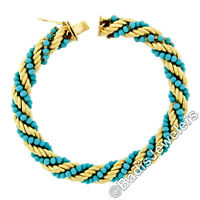Vintage 18k Gold Thick Rope & Dual Strand Turquoise Bead Twisted Chain Bracelet