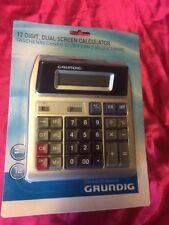 Grundig 12 Digit Dual Screen Calculator Desktop Home Office Shop Stationary