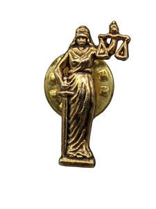Gold Tone Lady Justice Scales of Justice Sword Law Lawyer's Lapel/Hat Tac Pin.