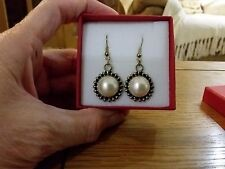 Brand new large antique Silver look dangling pearl earrings  + gift box