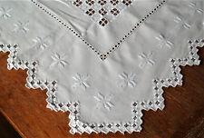 beautiful Norwegian white Linen Hardanger center tablecloth -  antique