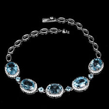 925 Sterling Silber Armband, Natural 3 & 9x7mm Swiss Blautopas & Cubic Zirconia