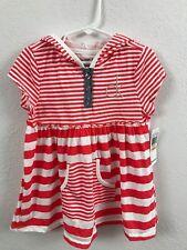 """Calvin Klein Jeans"" Girls 6x Red/White Striped Top Kangaroo pocket NWT MRSP $49"