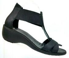 BASS Lite Kia Black Leather Gladiator Elastic Strap Wedge Sandals Women's 9 WIDE