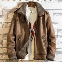 Winter Men's Sueded Leather Cashmere Jacket Shearling Lining Coat Outdoor Warm