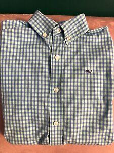 Boys Vineyard Vines Long sleeve button down collar shirt blue check size M 10-12