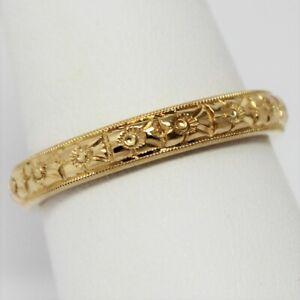 1930's-40's 18 kt Gold 3.5 mm Milgrain Edge Floral Wedding Band Ring Sz 8 B0504