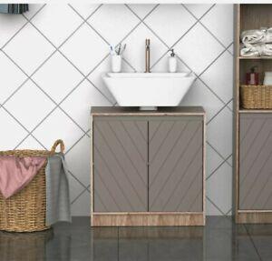 =  Under Sink Storage Cabinet Floor Standing w/ Adjustable Shelf Bathroom 3:21