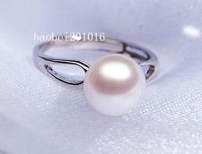 TOP 8mm AAA+++ grade bread white akoya pearl ring 925 silver wedding best