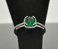 JWBR 10K Diamond Halo Cushion Cut Chatham Emerald Ring - Size 7
