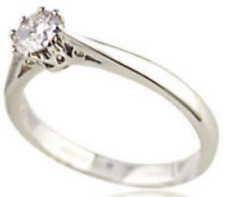 1/4CT S0LITAIRE DIAMOND 18ct WHITE GOLD 8 CLAW ENGAGEMENT RING 0.25CT 750