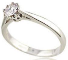 1/4CT S 0 litaire Diamante 18 KT ORO BIANCO 8 Artiglio Anello di fidanzamento 0.25 KT 750