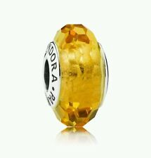 Pandora Murano Glass Charm Golden Faceted Bead Silver s925 Ale 791629 New,