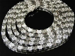 Mens White Gold Finish Genuine Diamond 1 Row Necklace Chain 34 Inch 5 MM 1/2 Ct