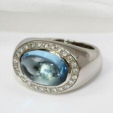 Wunderschöner Ring in 585 Weissgold mit Blautopas und Brillant 0,25 w.si