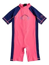 NWT Roxy Girl's 2/2T So Sandy Neon Pink 1 Pc Springsuit Rash Guard Swimsuit UV