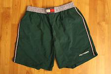 Vintage Men's Tommy Hilfiger Swimming Trunks Green Spellout Logo Size: Medium