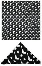 35550 White Pistols & Stars Black Bandana Doo Rag Head Wrap Sourpuss Punk Metal