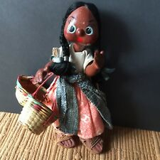 Vintage Mexican Gourd Handmade Paper Mache Doll Cloth  Folk Art