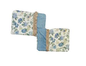 Vintage Custom Handmade Curtains Drapes Panels 1970s Cottage Floral Blue Ruffle