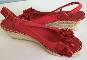 Clarks Pirie Drop Red Wedge Sandals Size UK 5 EUR 38 Worn Once VGC