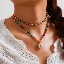 Women Boho Multicolor Beads Shell Necklace Doublelayer Clavicle Choker Jewelr P1